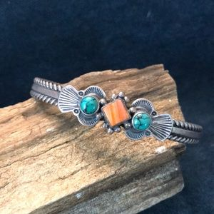 Andy Cadman Sterling Silver Cuff Bracelet with Spiny Oyster & Turquoise